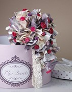 Bouquets with buttons and fabrics
